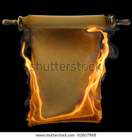 ancient antique scroll in the fire. isolated on black. - stock photo