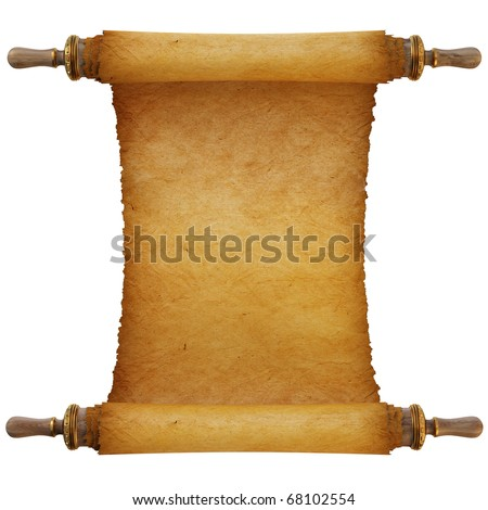 Ancient antique scroll on white background - stock photo