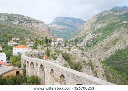 Ancient aqueduct in Old Bar, Montenegro