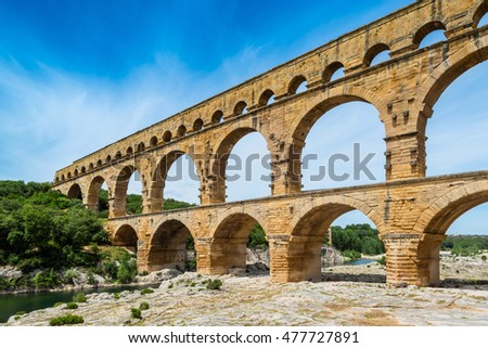 Ancient aqueduct Pont Du Gard in Southern France