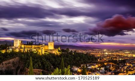 Ancient arabic fortress of Alhambra at night. Granada, Spain. - stock photo