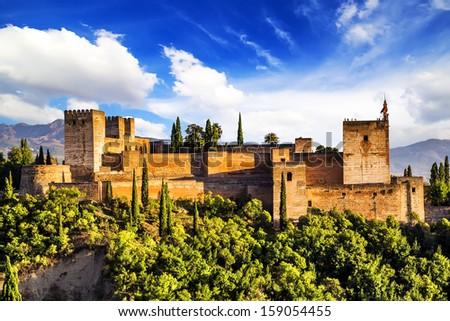Ancient arabic fortress of Alhambra, Granada, Spain.  - stock photo