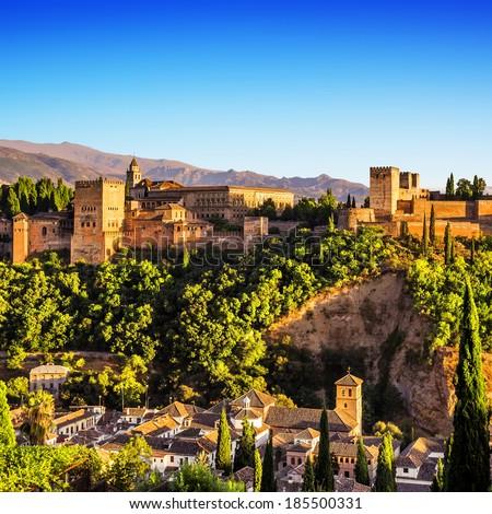 Ancient arabic fortress of Alhambra, Granada, Spain - stock photo