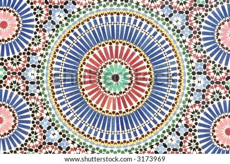 Ancient arabic mosaic tiles (Marrakesh Museum) - stock photo