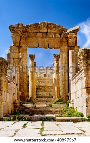 Ancient arch of Temple in Jerash, Jordan - stock photo