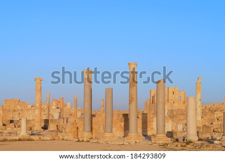 Ancient archaeological ruins in the city of Sabratha, Libya              - stock photo