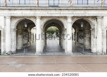 Ancient arches architecture detail of old building, monument - stock photo