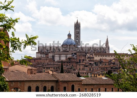 Ancient architecture in the city of Siena, Tuscany, Italy - stock photo