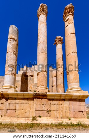 Ancient architecture of the Ancient Roman city of Gerasa of Antiquity , modern Jerash, Jordan