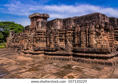 Ancient architecture ruins and wall carvings in the historical temple of Konark, Orissa.