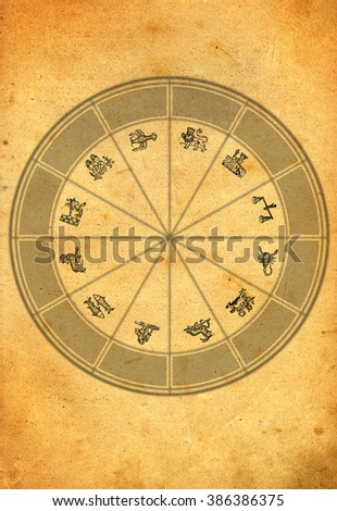 ancient astrological wheel with all zodiac signs - stock photo