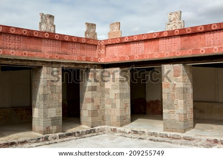 ancient Aztec architectural details - stock photo