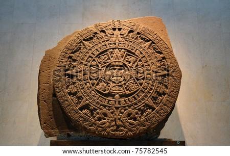 Ancient Aztec Calendar Stone - stock photo