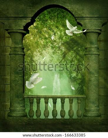Ancient balcony and doves - stock photo