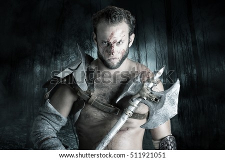 Ancient barbarian warrior or Gladiator ready to fight
