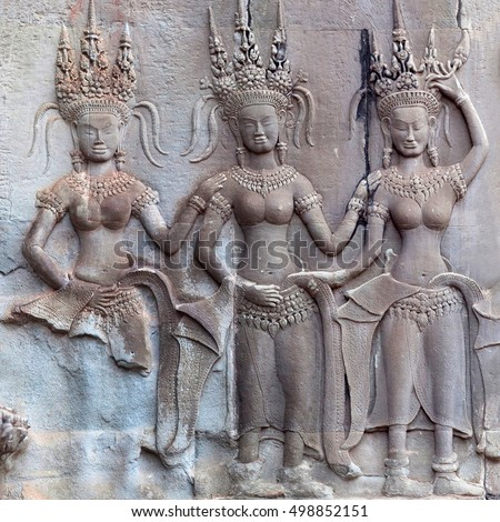 Ancient bas-relief in Angkor Wat temple, Cambodia. Angkor Wat was built between 1113 and 1150 by King Suryavarman II.