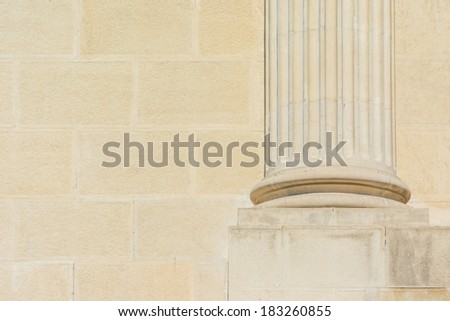 Ancient Base Foundation Of Roman Courthouse Column - stock photo