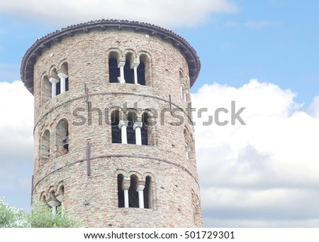 Ancient Bell Tower of Saint Apollinare in Classe near the town of Ravenna in Italy