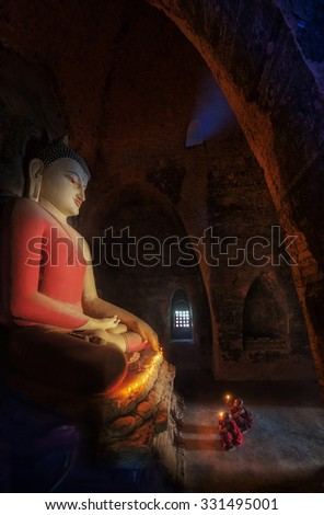 Ancient Big buddha statue in Bagan Historical park, mandalay, Burma - stock photo