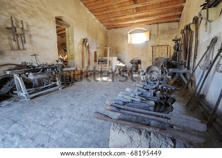 ancient blakcsmiths shop in sicily