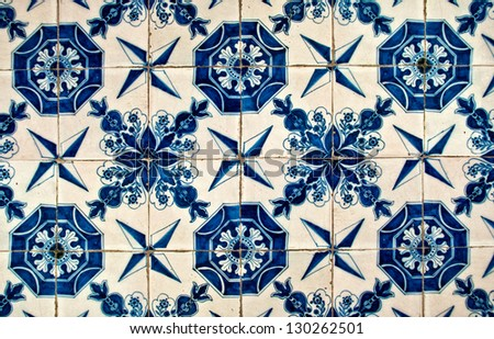 ancient blue and white tiles in the Topkapi palace, Istanbul - stock photo