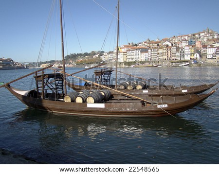 Ancient Boat in Oporto, in which was used to transport the Port Wine in the river crossing - stock photo