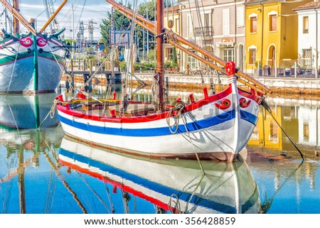 Ancient boats on Leonardesque Canal Port  in Cesenatico in Emilia Romagna in Italy