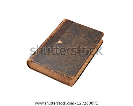 Ancient book, isolated on white background. Selective focus - stock photo