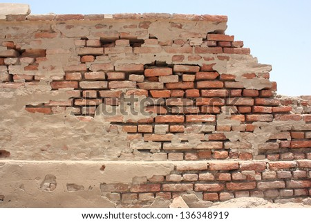 Ancient boundary wall of  Omarkot Fort in Sindh - stock photo