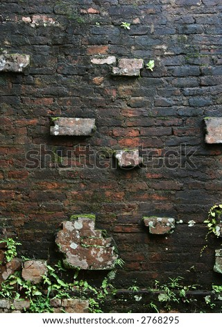 ancient brick wall - stock photo
