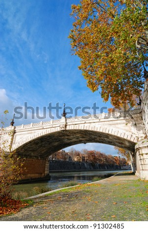 ancient bridge on the Tiber river, Rome, Italy