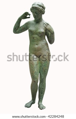 Ancient bronze statue of Venus isolated on white with clipping path - stock photo