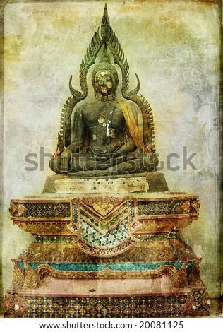 ancient budda statue - vintage card - stock photo