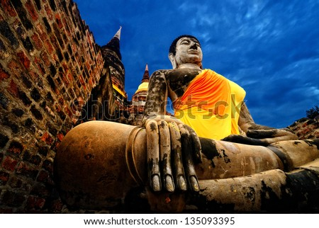 Ancient Buddha, Ayutthaya, Thailand - stock photo