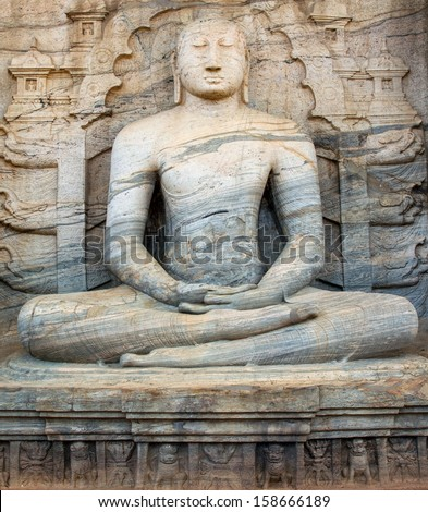 ancient buddha engraved  at Sri lanka  - stock photo