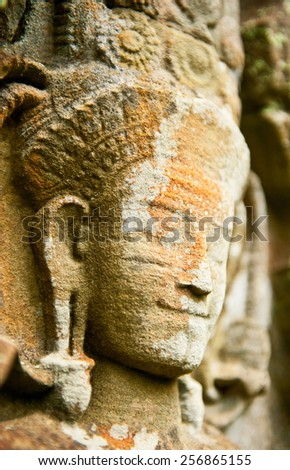Ancient Buddha face, Ayutthaya, Thailand - stock photo