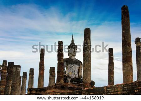 ancient buddha image statue at Sukhothai historical park Sukhothai province Thailand.Sukhothai Historical Park is the UNESCO world heritage - stock photo