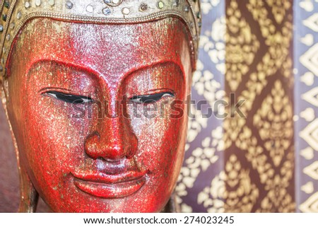 ancient buddha sculpture in the temple ,Chiang Mai Thailand . - stock photo