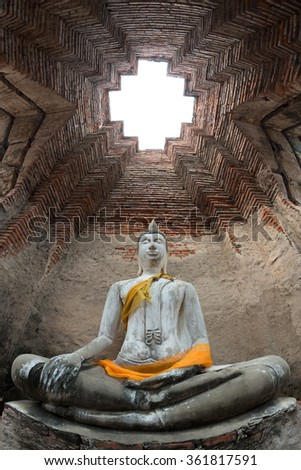 Ancient Buddha Statue at Ayutthaya Temple,Thailand - stock photo