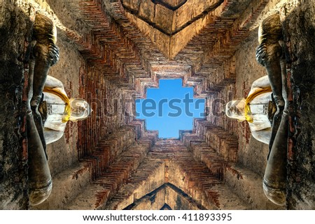 Ancient buddha statue in old temple , Ayutthaya Historical national park , Thailand - stock photo