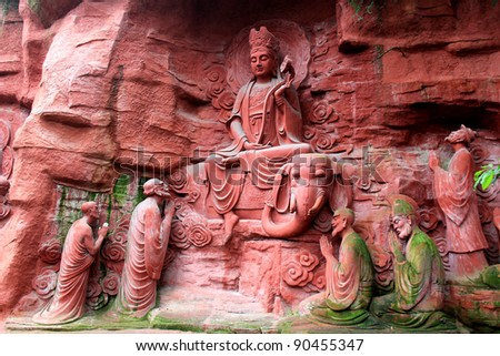 Ancient Buddha statue in Xi Chuan, China - stock photo