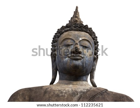 Ancient Buddha statue on a white background.