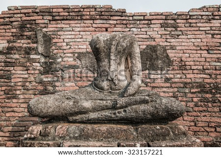 Ancient buddha statue, Thailand - stock photo
