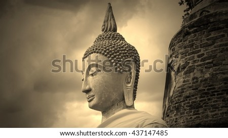 Ancient buddha statue with old pagoda,of thailand  - stock photo