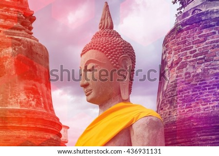 Ancient buddha statue with old pagoda on vintage style - stock photo