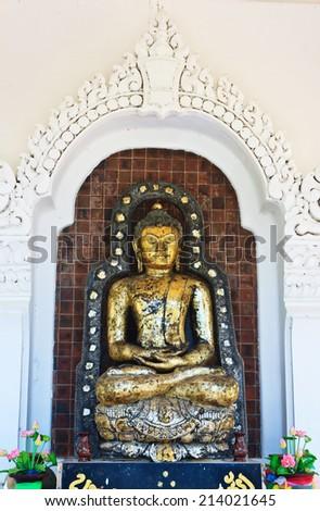 ancient Buddha. The local name of this Buddha image is Pra Kantarawichai.Maha Sarakham,Thailand. - stock photo