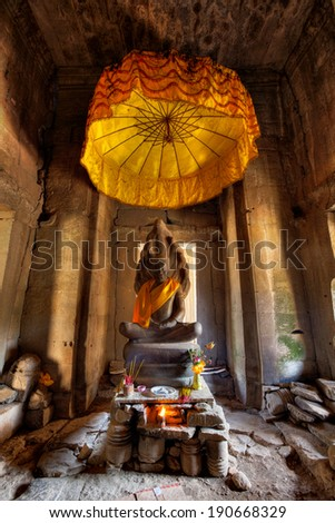 Ancient Buddhist Altar - Angkor Wat Complex, Cambodia - stock photo