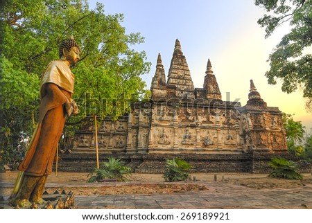 Ancient Buddhist architecture in Chiangmai, Thailand.(Wat Jed Yod temple) - stock photo