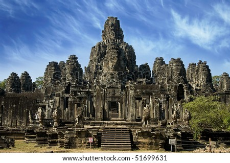 Ancient buddhist khmer temple in Angkor Wat, Cambodia. - stock photo