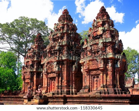 Ancient buddhist khmer temple in Angkor Wat, Cambodia. Banteay Srey Prasat - stock photo